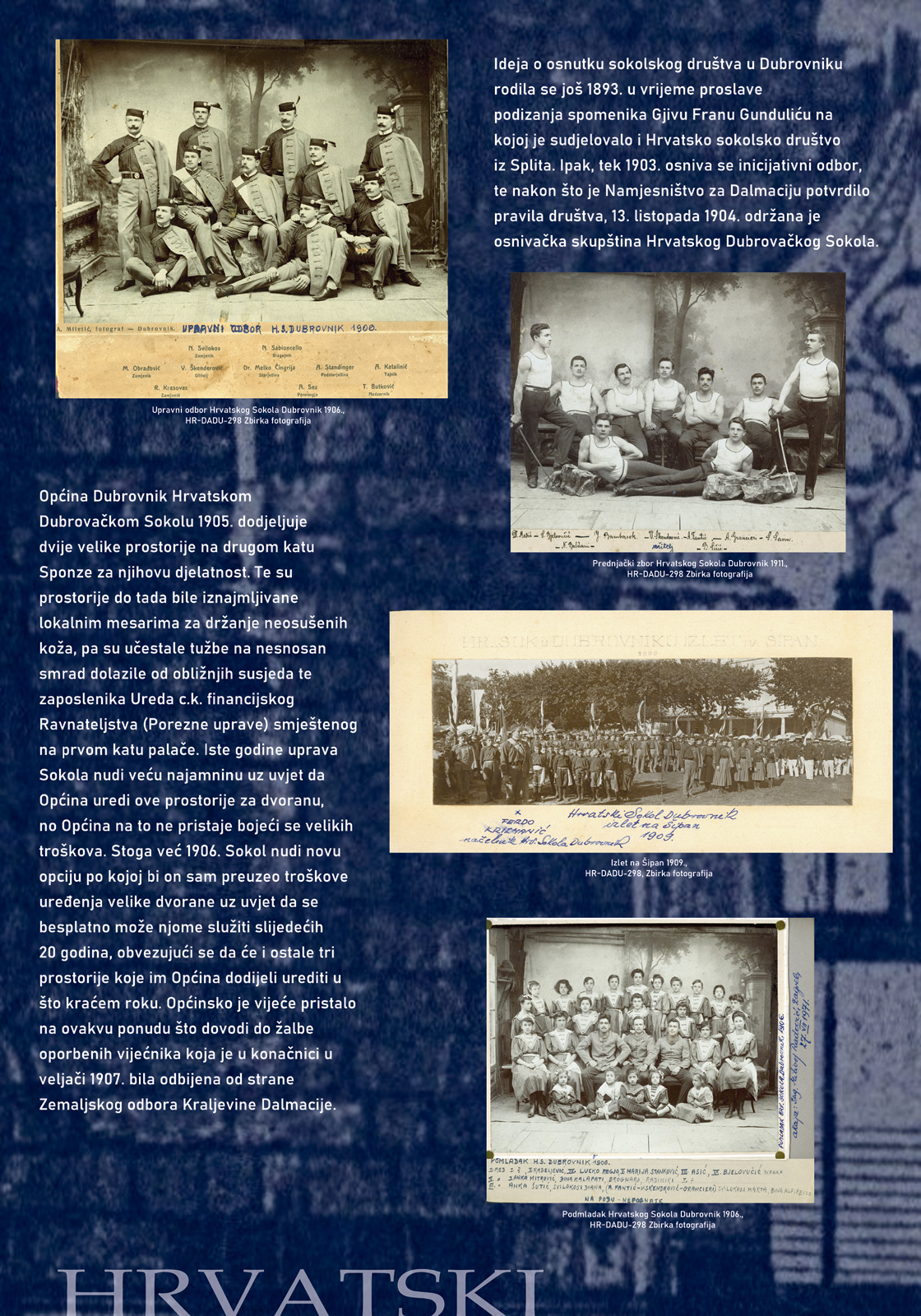 Panel sa izložbe koji prikazuje više fotografija i tekst o sokolskom društvu u Dubrovniku