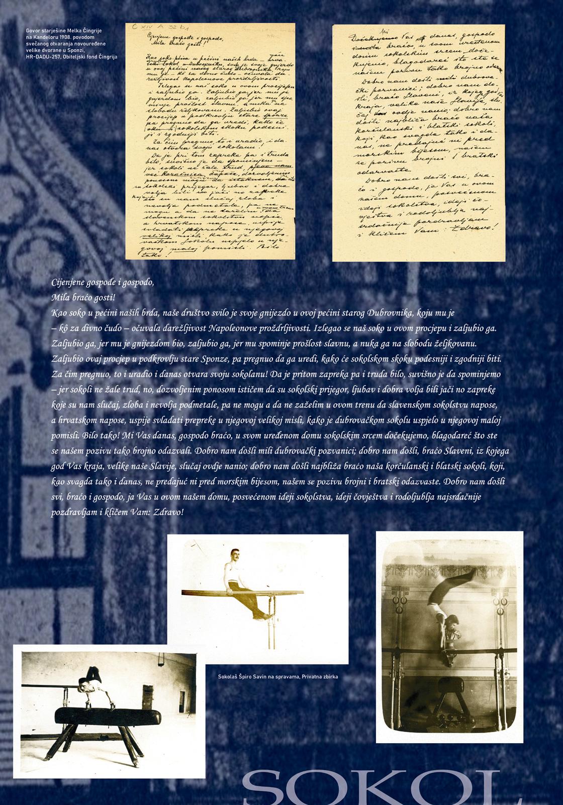 Panel 2 sa izložbe koji prikazuje više fotografija i tekst o sokolskom društvu u Dubrovniku