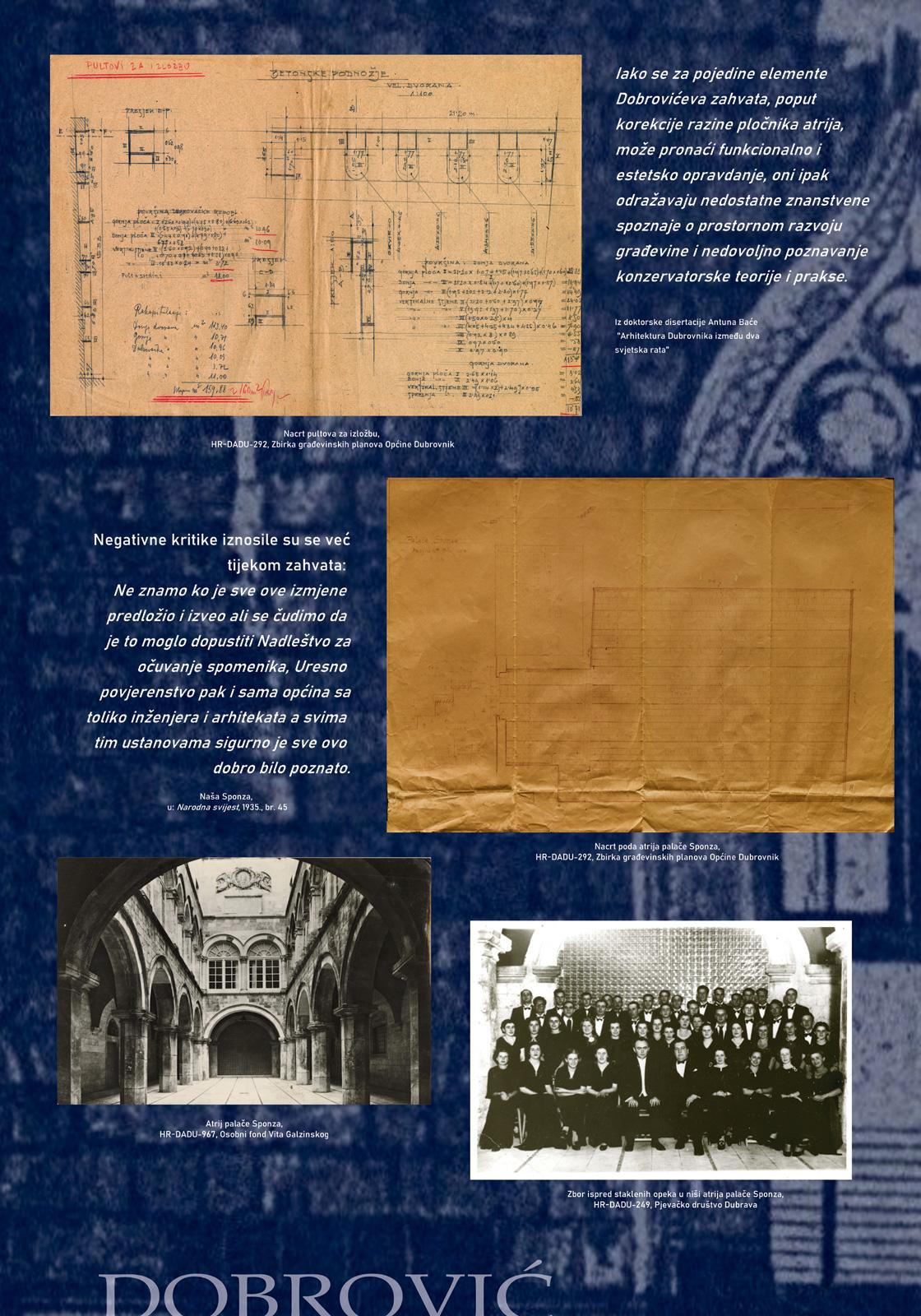 Panel 2 sa izložbe koji prikazuje slike i tekst o intervencijama arhitekta Nikole Dobrovića