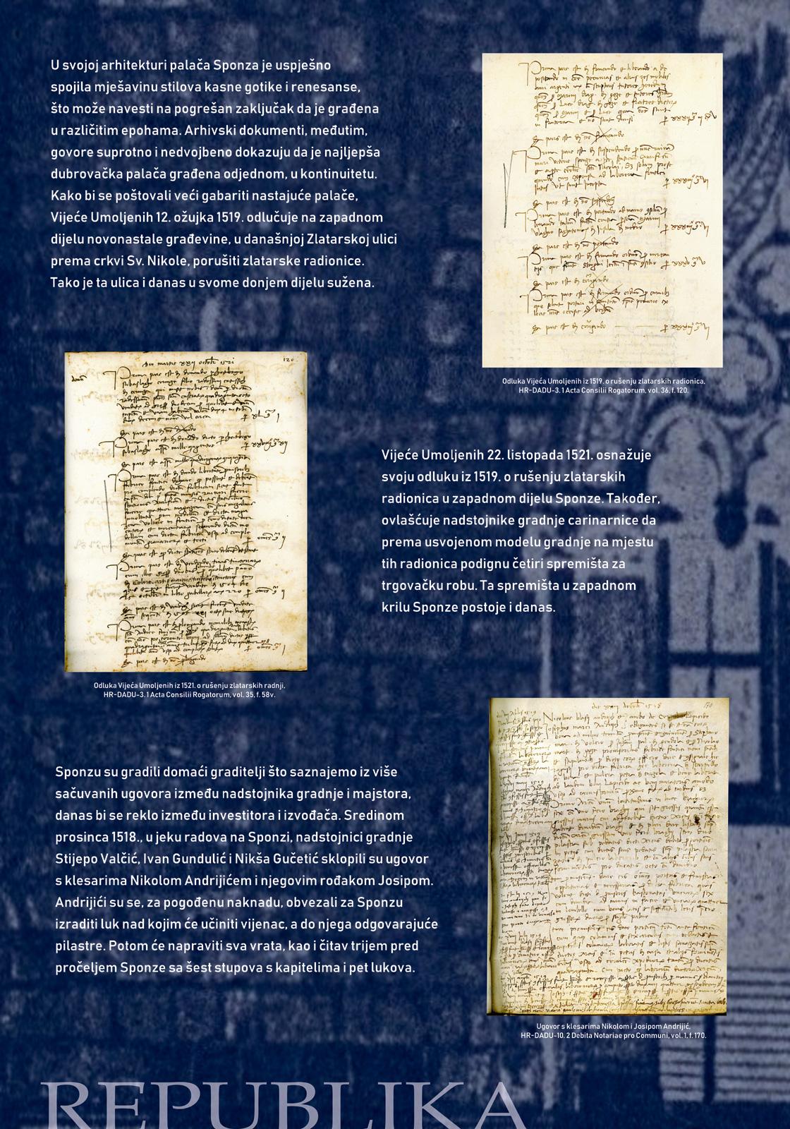 Panel 2 sa izložbe koji prikazuje dokumente iz doba Dubrovačke Republike vezane uz Sponzu