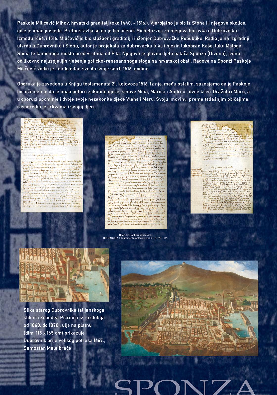 Panel 3 sa izložbe koji prikazuje dokumente iz doba Dubrovačke Republike vezane uz Sponzu