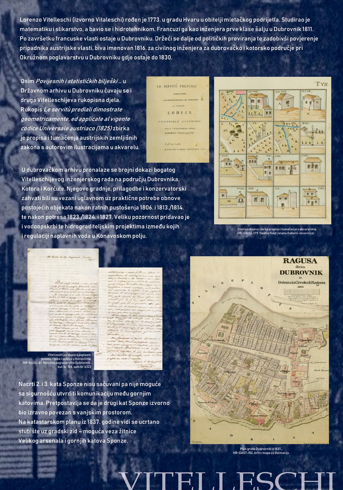 Panel 2 koji prikazuje nacrte koje je napravio okružni inžinjer Antonio Vittellecshi 1827. godine