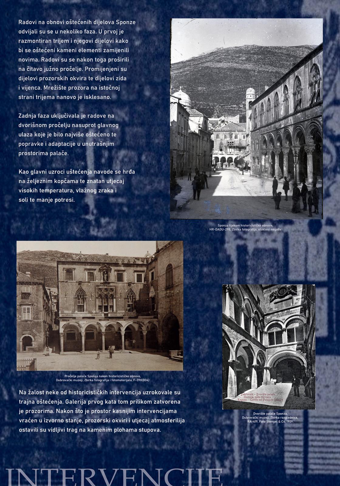 Panel 3 sa tekstom i slikama koje prikazuju historicističke intervencije u palaču Sponza u drugoj polovici 19. stoljeća